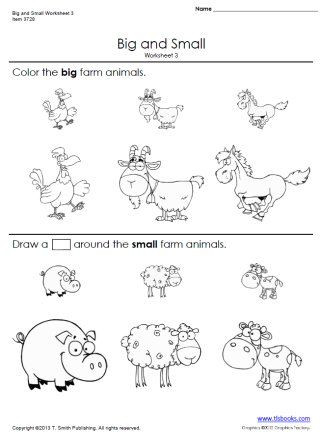 Big and Small Worksheets 3 and 4