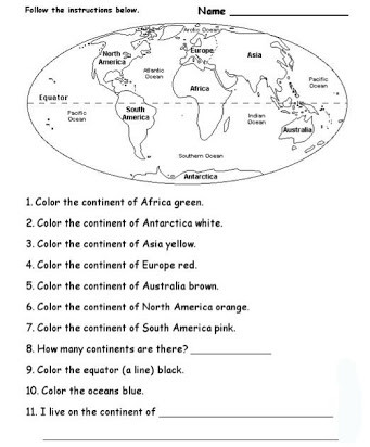 Continents and Oceans Printable Worksheets