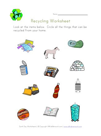 Free Recycling Worksheets