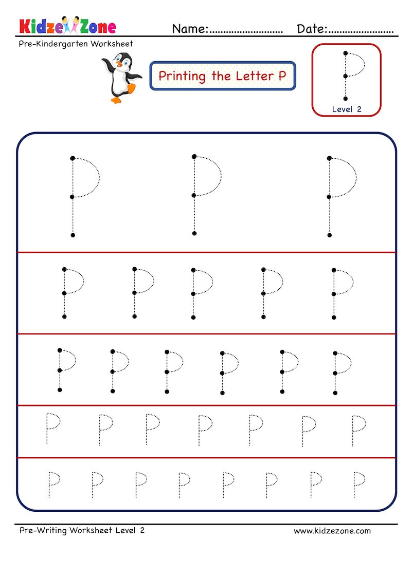 Letter P Tracing Worksheets