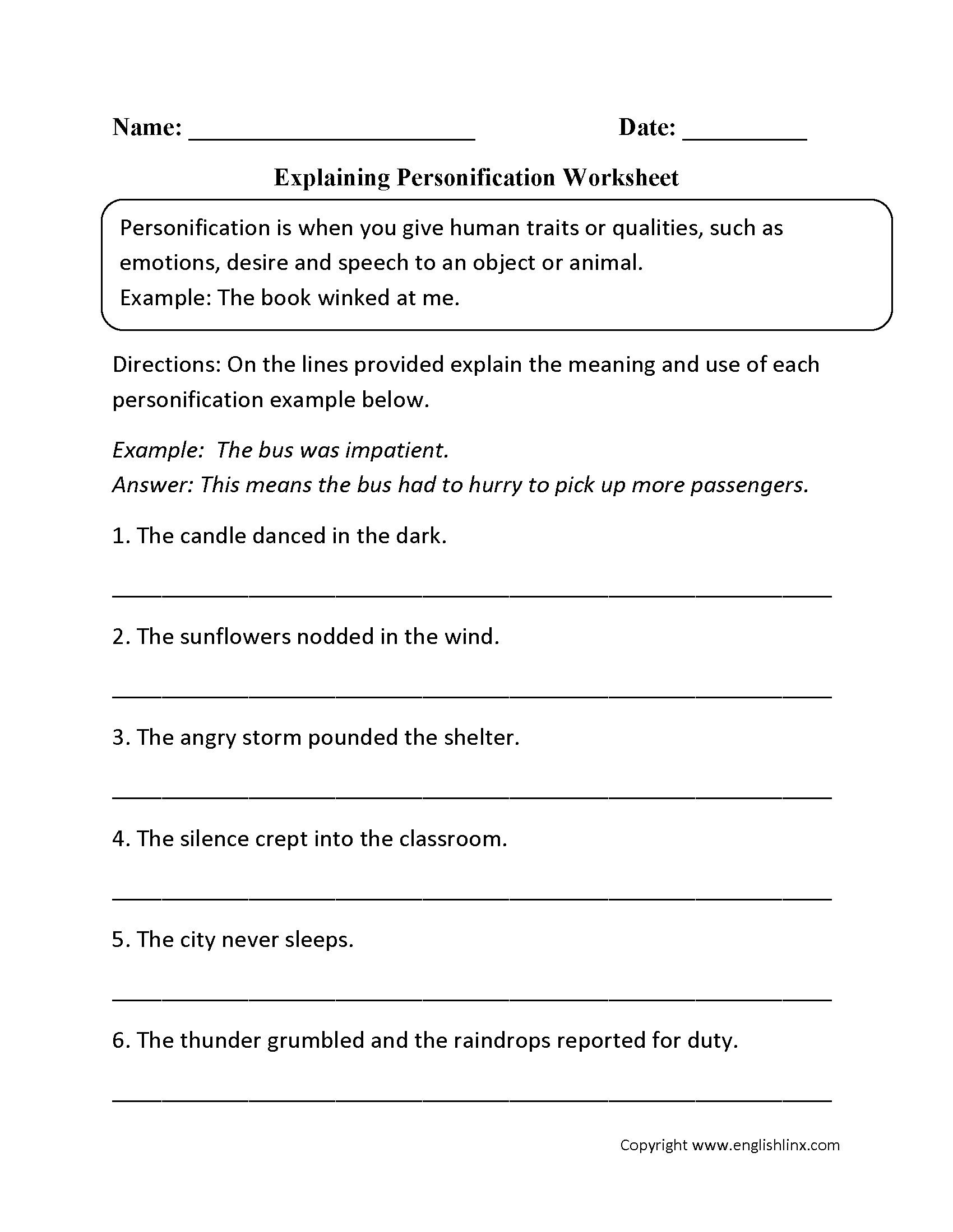 Literal and Nonliteral Worksheets