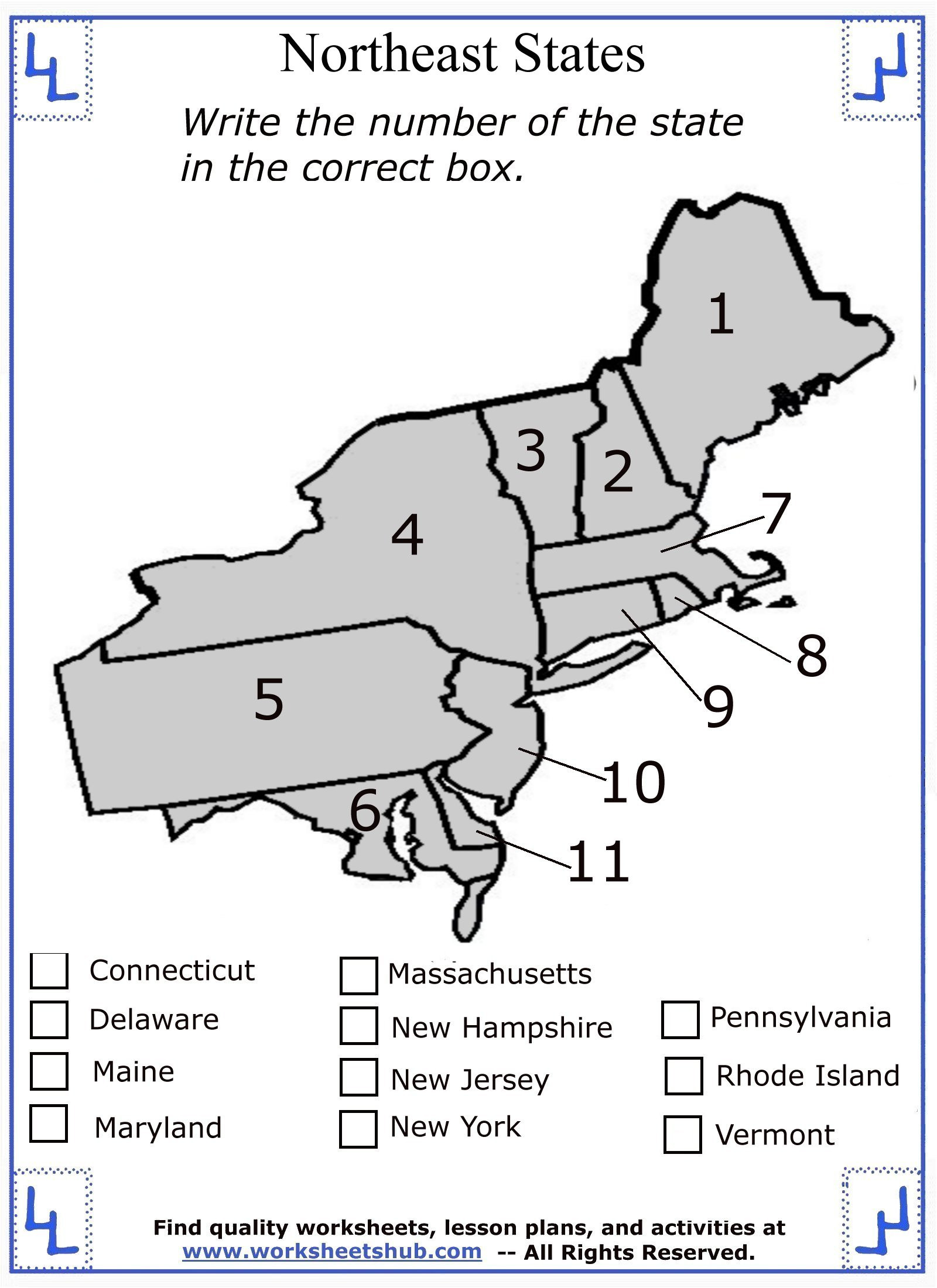 Northeast States and Capitals Worksheet