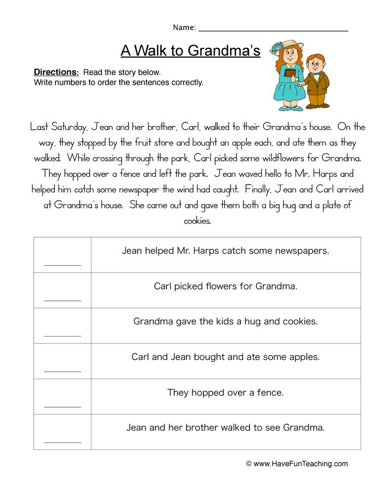 Story Events Order of Events Worksheet