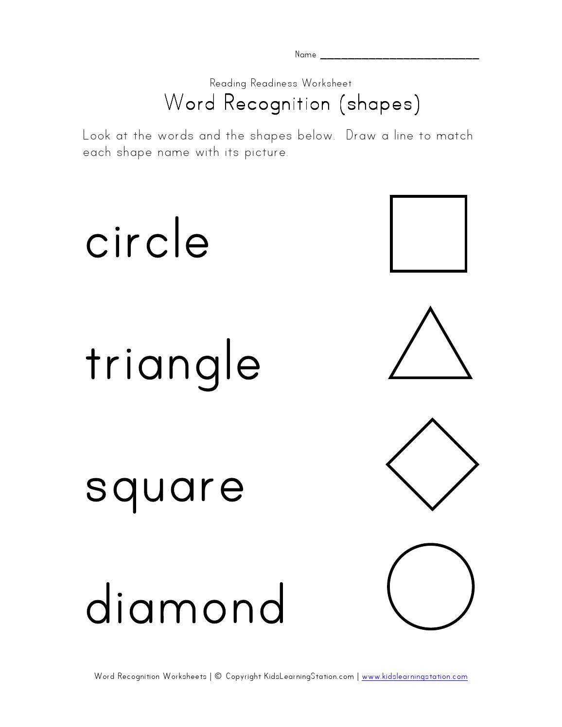 Reading Readiness Worksheets
