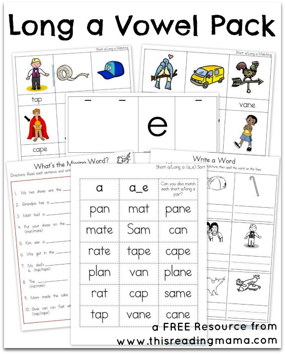 Long Vowel Review Worksheets