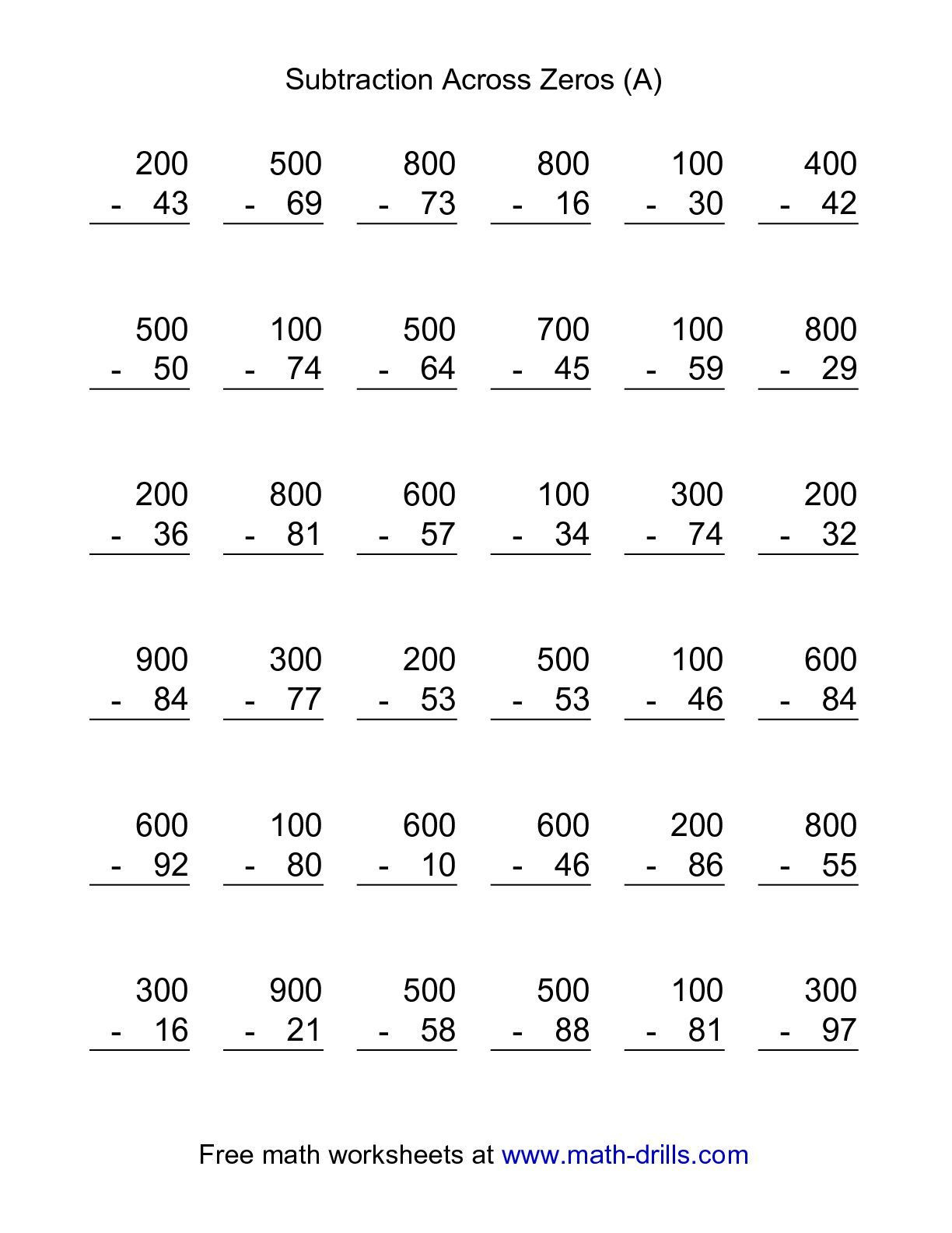 Regrouping with Zeros Worksheets