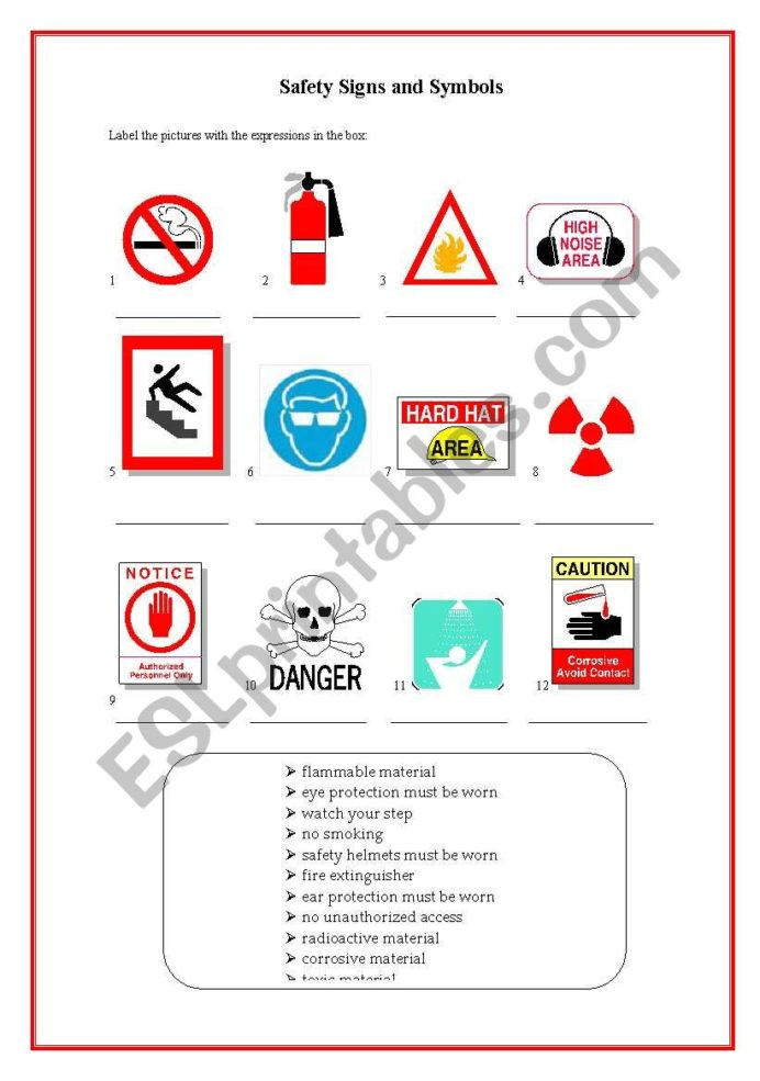 Safety Signs Worksheets Free