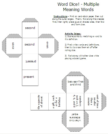 Words with Multiple Meanings Worksheets