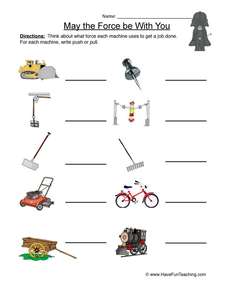 Worksheets On force and Motion
